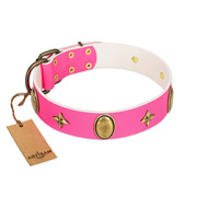 """Fashion Rush"" FDT Artisan Pink Leather Dog Collar with Ovals and Stars"
