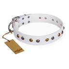 'Snowflake' FDT Artisan White Leather Dog Collar with Decorations