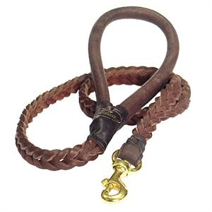 Braided Brown Leather Dog Leash - ROUND LEATHER HANDLE - L12