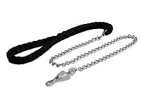Dog Leash with Black Nylon Braided Handle