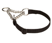 Adjustable Nylon Martingale Dog Collar with Chain for Any Weather Activity