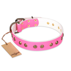'Pink Pleasure' FDT Artisan Decorated Leather Dog Collar with Old Bronze-Plated Engraved Studs 1 1/2 inch (40 mm) Wide
