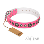 'Miss Congeniality' FDT Artisan Pink Leather Dog Collar with Adornments