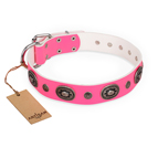 'Flavor of Strawberry' FDT Artisan Flashy Pink Leather Dog Collar