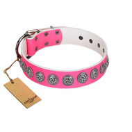 """Pink Garden"" Designer FDT Artisan Pink Leather Dog Collar for Stylish Look"