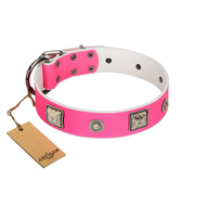"""Girlish Look"" Designer FDT Artisan Pink Leather Dog Collar with a Mix of Silver-Like Decorations"