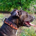 Handpainted Leather Pitbull Collar with Red Flames