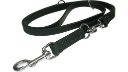 Leather dog leash multi functional with STAINLESS STEEL snap hooks (Made in Germany)- L1-20mm