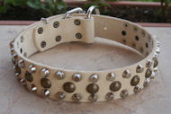 20%Discount-S56 - 3 Rows Leather Dog Collar with Pyramids and Studs