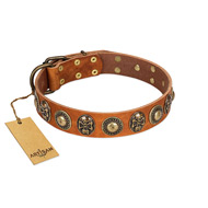 """Golden Epoch"" FDT Artisan Tan Leather Dog Collar with Old Bronze-plated Medallions and Conchos"