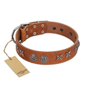 """Brave Spirit"" Handmade FDT Artisan Designer Tan Leather Dog Collar with Shields"