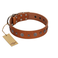 """Ancient Jewel"" Designer FDT Artisan Tan Leather Dog Collar"