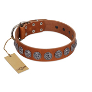 """Velvet Kiss"" Handmade FDT Artisan Tan Leather Dog Collar with Vintage Medallions"