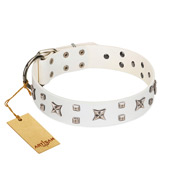 """Star Patrol"" FDT Artisan White Leather Dog Collar Adorned with Stars and Studs"