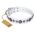 'Ice Age' FDT Artisan White Studded Leather Dog Collar