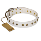 'Snow Cloud' FDT Artisan White Leather Dog Collar with Square and Rhomb Studs