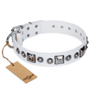 'Lustre of Fame' FDT Artisan White Studded Leather Dog Collar