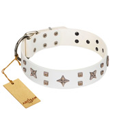 """Starry Heaven"" Designer Handcrafted FDT Artisan White Leather Dog Collar with Stars and Studs"