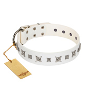 """Fashion Star"" FDT Artisan White Leather Dog Collar with Silver-Like Engraved Plates and Stars"