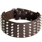 """Comfy Width"" 3 inch Studded Leather Dog Collar"