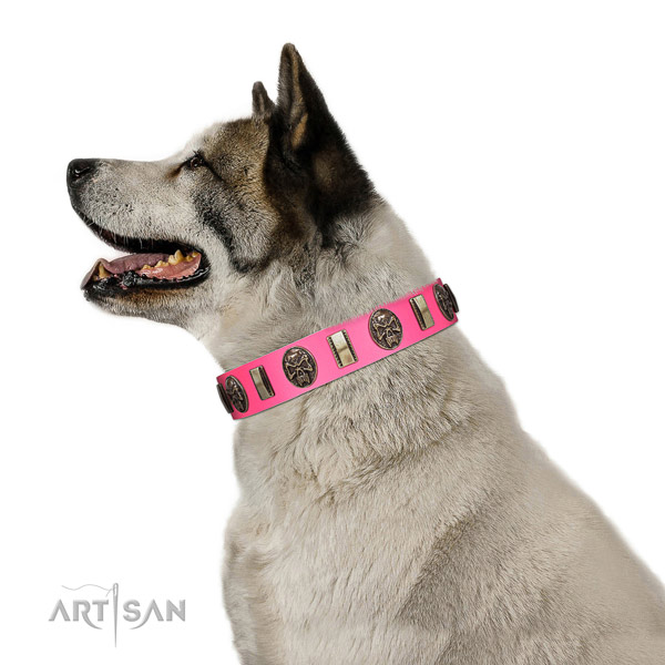 Smooth leather Akita Inu collar in pink color