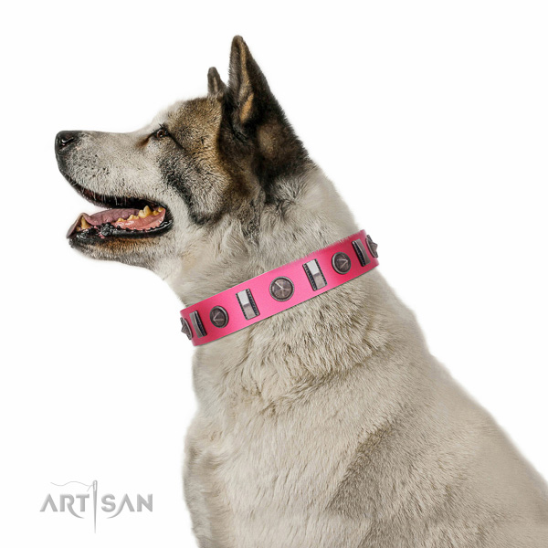 Artisan leather Akita-Inu collar for perfect control