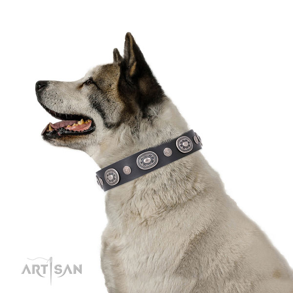 Akita Inu easy to adjust full grain leather dog collar with decorations