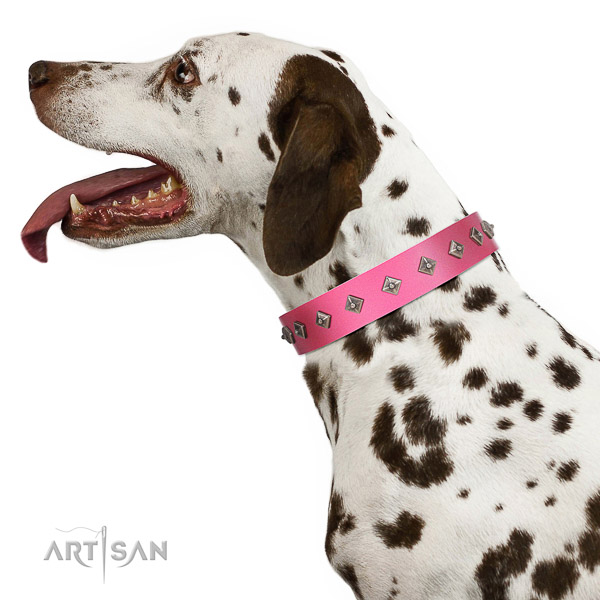 Decorated with Silvery Studs Leather Dalmatian Collar