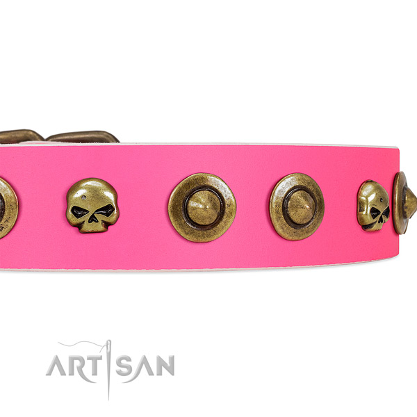 FDT Artisan pink leather dog collar with decorative brooches and skulls
