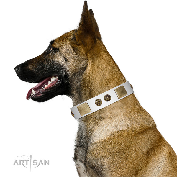 Unusual Design White Leather FDT Artisan Belgian Malinois Collar