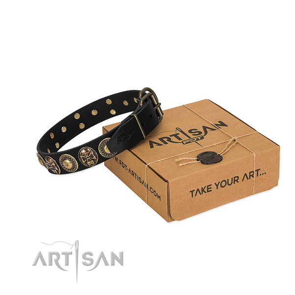 Top Notch Leather Dog Collar in Black