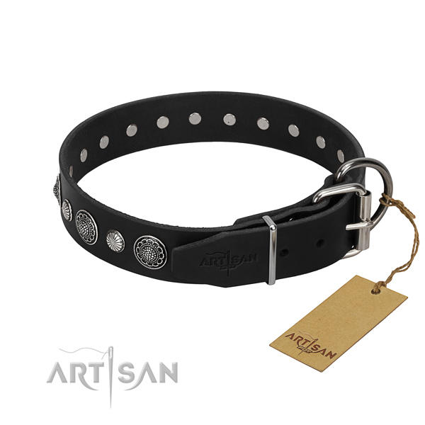 Black Leather Dog Collar with Reinforced Hardware