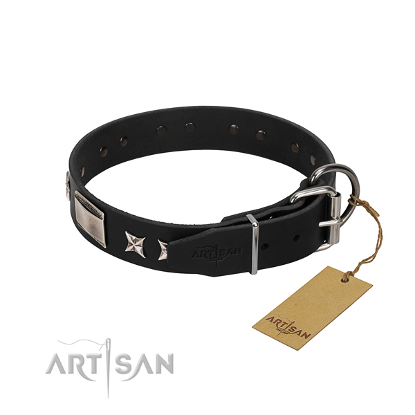 Adjustable leather dog collar for comfortable wear