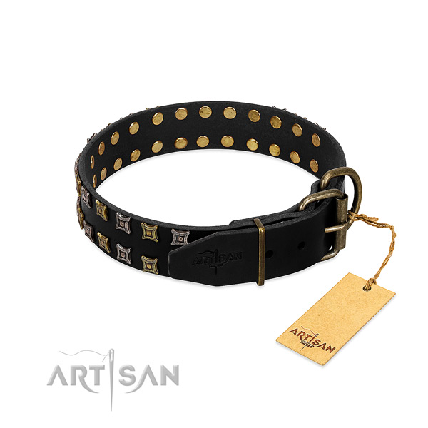 Easy adjustable FDT Artisan leather dog collar for