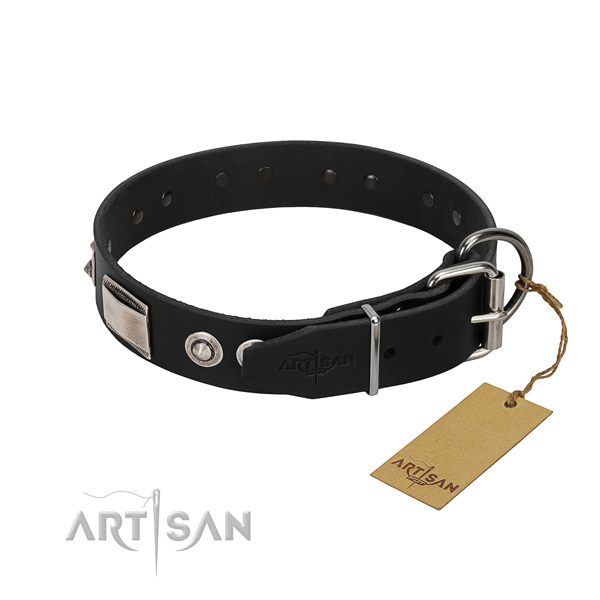 Black leather dog collar produced of premium quality materials
