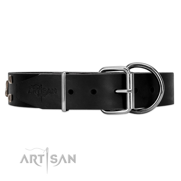 Black leather dog collar with silver studs and stars