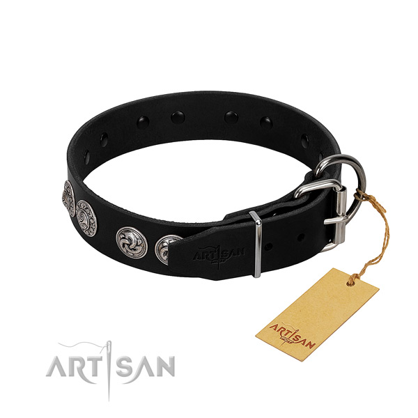 Pleasant to wear leather dog collar won't disturb your