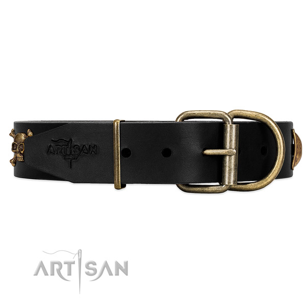 Durable black leather dog collar with old bronze-like hardware
