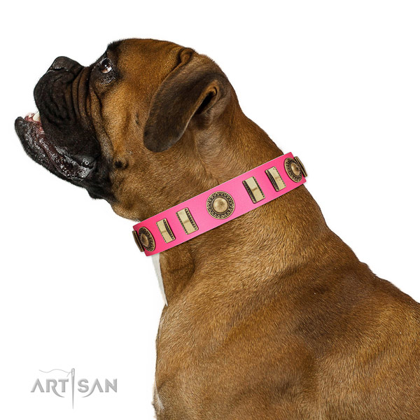 Deluxe Boxer pink leather collar for daily walking