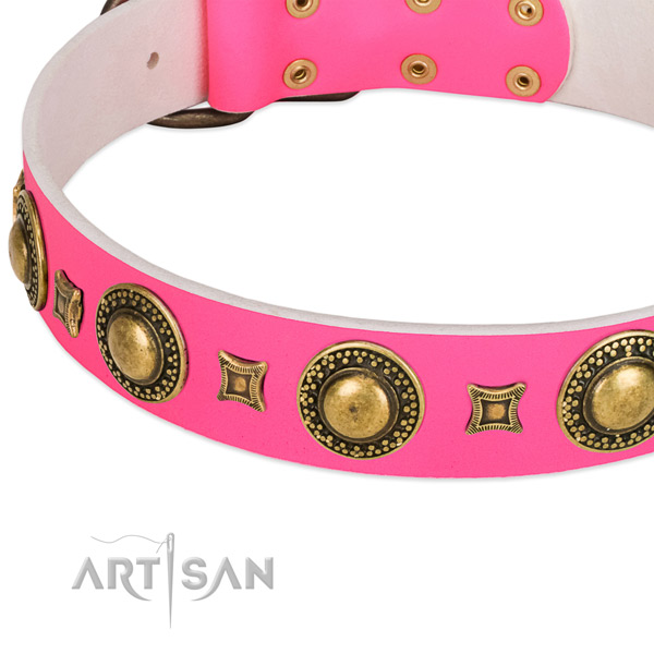 Modern pink leather dog collar with cool decorations