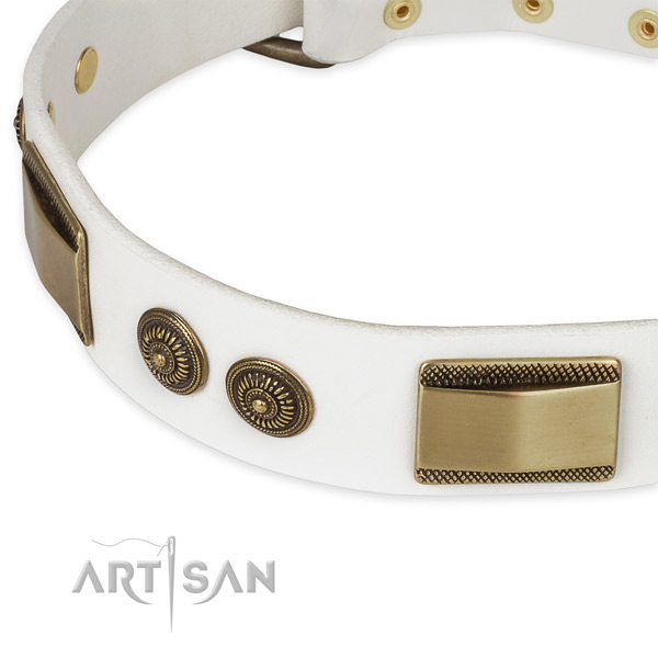 Designer Leather Dog Collar of White Color