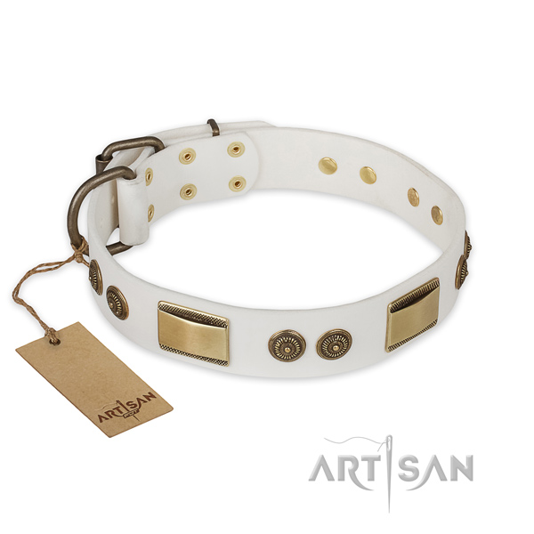 Designer Leather Dog Collar of White Color for Walking