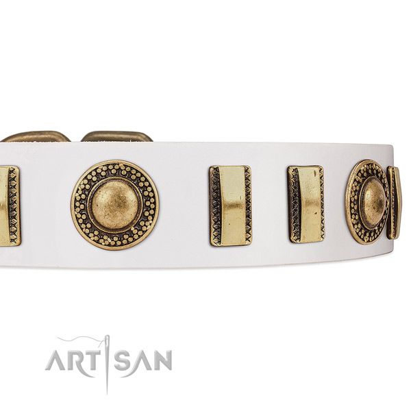 Old Bronze-like Plated Engraved Adornments on White Leather Dog Collar