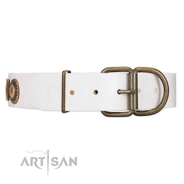 FDT Artisan White Leather Dog Collar with Reliable Hardware