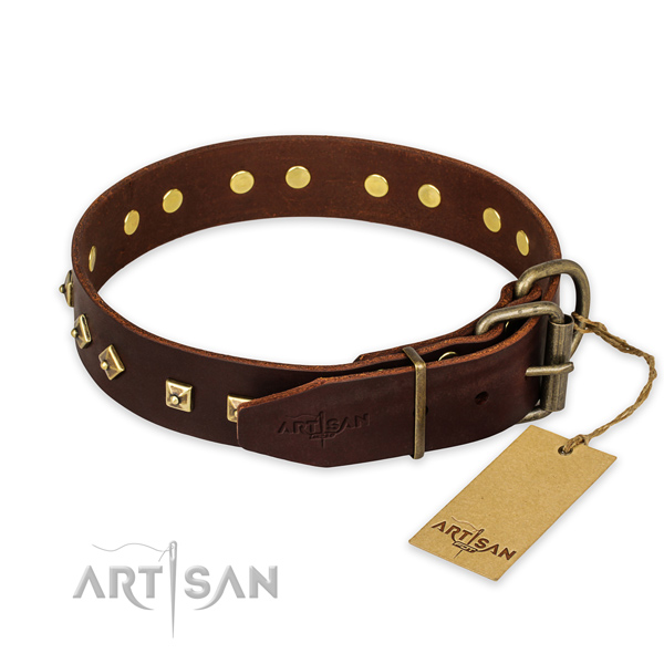 Fancy Brown Leather Dog Collar with Rhombs and Studs