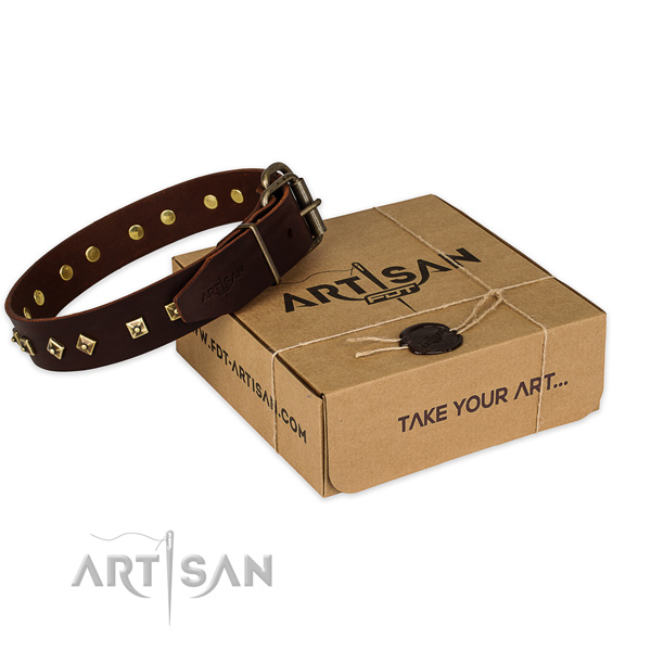 Stylish Brown Leather Dog Collar with Old Bronze Plated Decorations