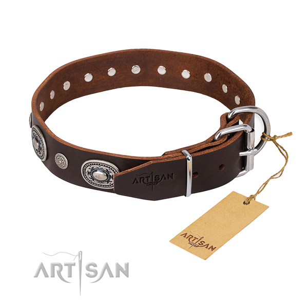 Durable brown leather dog collar