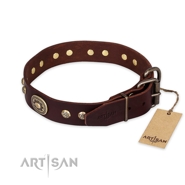 Brown leather dog collar with old bronze-like plated decorations