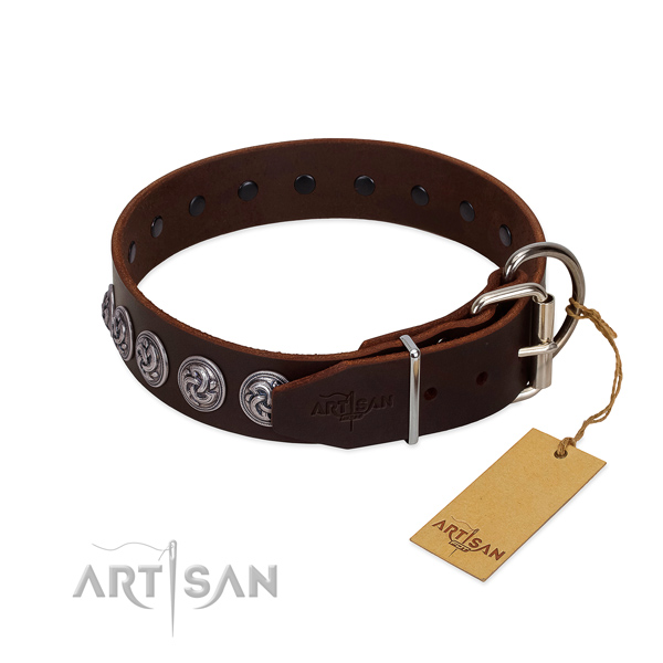 FDT Artisan brown leather dog collar with old silver-like