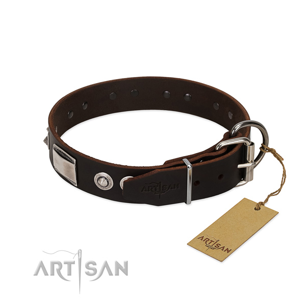 Brown leather dog collar produced of premium quality